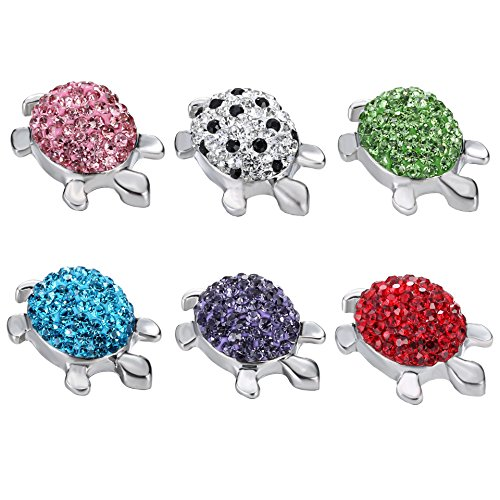 Ginooars Pack of 6 Colors 20-22mm Full Rhinestones Little Turtle Snaps Charms for Ginger Snap Jewelry Making-DIY Handcraft Idea (Turtle Earrings Charm)