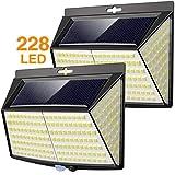 Vighep Luz Solar Exterior 228 LED,【2 Pack / 3 Modos】270 °lluminación Focos Solares Exterior con Sensor de Movimiento…