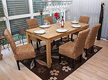 6x Dining Chair Wicker Chair M43, Water Hyacinth, Without Cushion