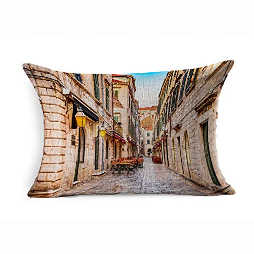 Ahawoso Linen Throw Pillow Cover King 20x36 Blue Wall Dubrovnik Croatia Cityscape Old City Street Colorful Boat Sea Coastline Panorama Tourism Adriatic Pillowcase Home Decor Cushion Pillow Case (With Piers Wall King Bed)