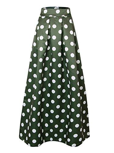 CHOiES record your inspired fashion Choies Women Dark Green Contrast Polka Dot Print Elastic High Waist Maxi Skirt 2X