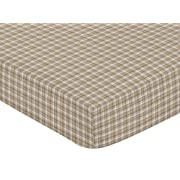 Sweet Jojo Designs Chocolate Teddy Bear Fitted Crib Sheet for Baby and Toddler Bedding Sets - Plaid Print