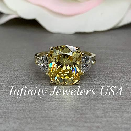 Elongated Cushion Cut Engagement Ring/Canary Yellow Ring/Cushion Cut With Trillion Sides / 14k yellow Gold / #5683