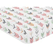 Sweet Jojo Designs Fitted Crib Sheet for Coral, Mint and Grey Woodsy Girls Baby/Toddler Bedding Set Collection - Arrow Print
