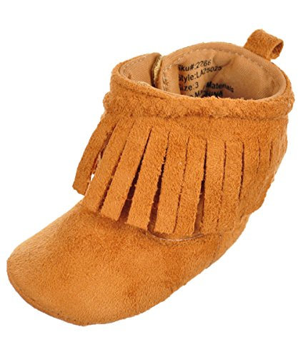 Laura Ashley Baby Girls' Moccasin Booties - Tan, 6-9 Months