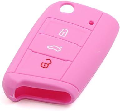 Sourcing Map Autoschlüssel Hülle Rosa Silikon Auto Fernbedienung Flip Schlüsselanhänger Cover Shell Fall Auto