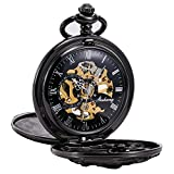 TREEWETO Antique Mechanical Pocket Watch Lucky Dragon Hollow Case Double Hunter Skeleton Dial with Chain + Gift Box