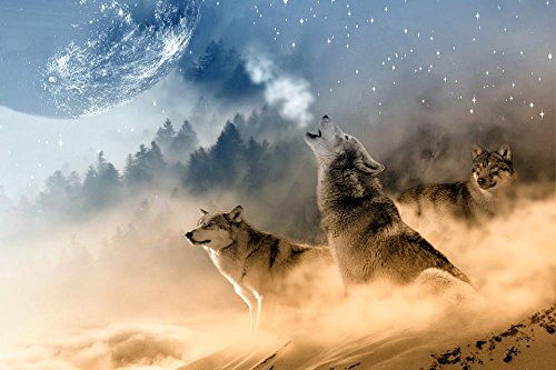 LAMINATED 36x24 inches Poster: Wolves Wolf Howling Moon Star