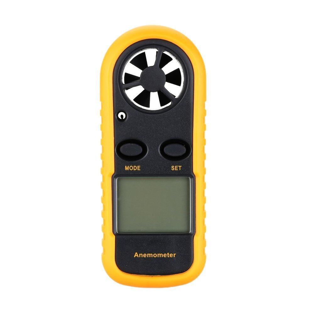 Balance numérique de Beaufort (Vitesse du vent Température anémomètre écran LCD avec rétroéclairage Plage de vitesse (Noir) SGerste