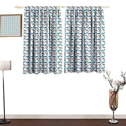 one1love Half Blackout Curtains: Shark Retro Style Different Abstract Silhouettes Symbols of Dangerous High Seas Mildew-Proof Polyester Fabric W63 xL72
