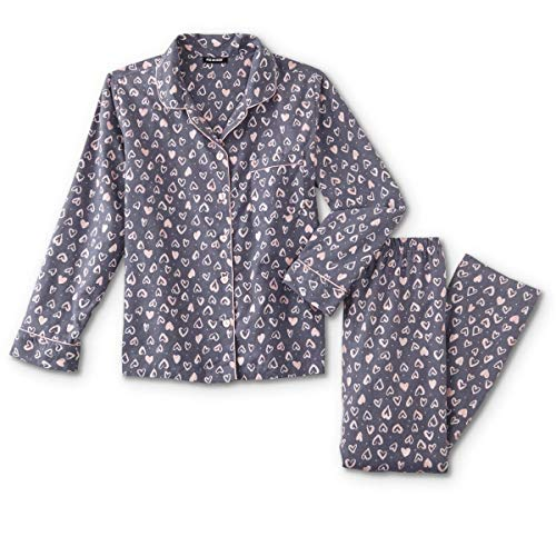 (Joe Boxer Women's Plus Size 2-Piece Flannel Pajamas Shirt & Pant Set (Grey & Pink Hearts, 3X Plus))