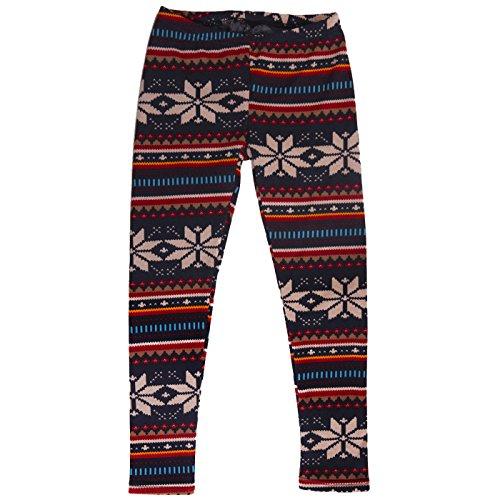 HDE Girls Fleece Winter Knit Leggings Kids Nordic Stretch Pants Footless Tights  Blue White Snowflake  Medium   7-8  Poinsettia Medium   7 8