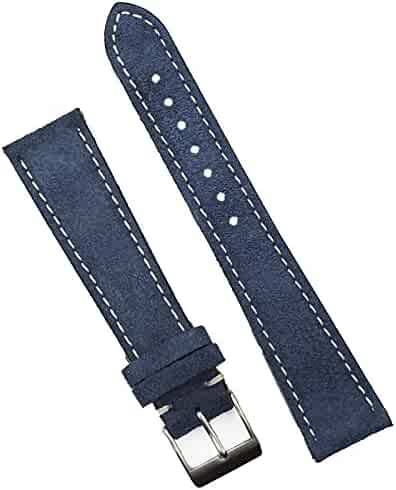 B & R Bands 19mm Pacific Blue Classic Suede Watch Band Strap