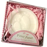 Lovely Handmade Pink Pitter Patter Style Soap Favors Exquisite Gift Packaging for Baby Girl Baby Shower Favors (24 Pack)