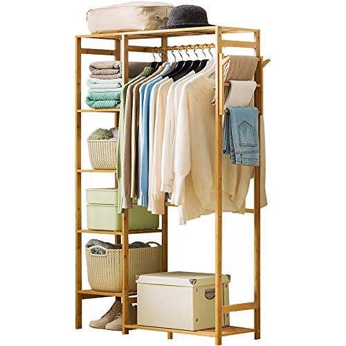 Hanging Wardrobe Organizer - Ufine Bamboo Garment Rack 6 Tier Storage Shelves Clothes Hanging Rack with Side Hooks, Heavy Duty Clothing Rack Portable Wardrobe Closet Organizer