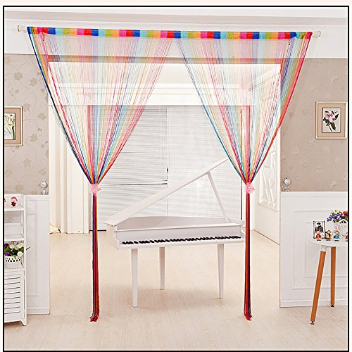 String Curtain Panel, Glitter Door Wall Window Doorways Panel Fly Screen Fringe Room Divider Blinds, Decorative Tassel Ribbon Strip Silver Screen for Living Room, Bedroom, Party Events (Multi-Color) (Beads Curtains For Living Room)