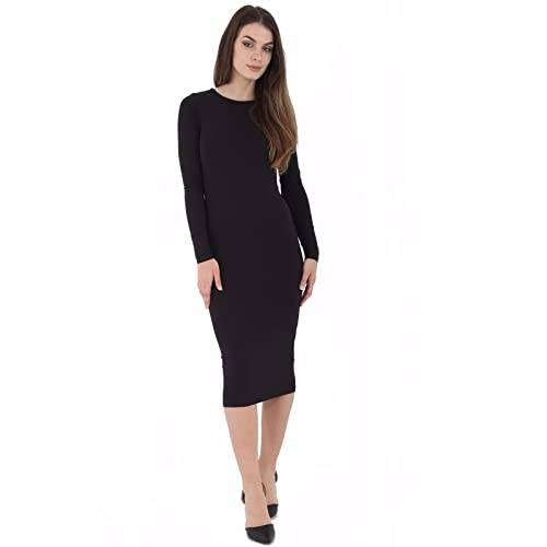 ZEE FASHION Womens Ladies Celebrity Inspired Long Sleeve Bodycon Midi Calf Length Dress Plus Size UK