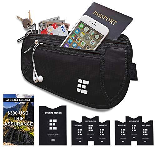 Zero Grid Money Belt w/RFID Blocking - Concealed Travel Wallet & Passport Holder