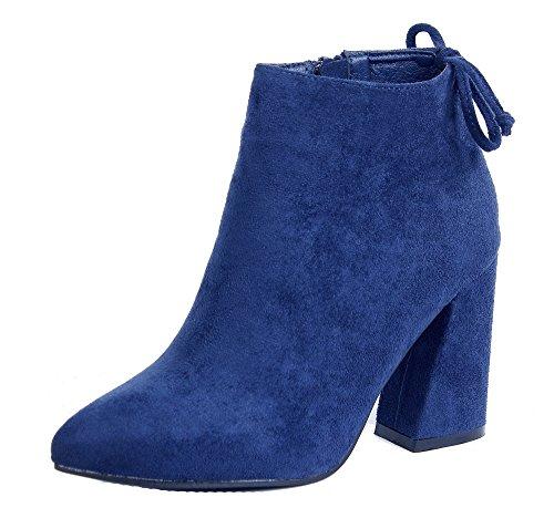 Caña Ancho Tacón Suede Marino Azul Sólido Botas Baja Cremallera Shoes Mujer AgeeMi Bwq460RXX