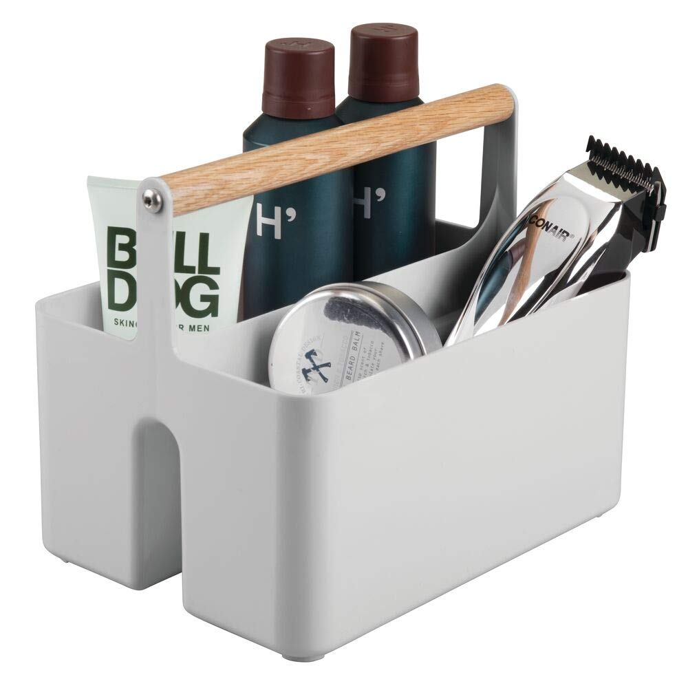 mDesign Plastic Portable Storage Organizer Utility Caddy Tote, Divided Basket Bin with Wood Handle for Bathroom, Dorm Room, Holds Hand Soap, Body Wash, Shampoo, Conditioner, Lotion - Gray/Natural