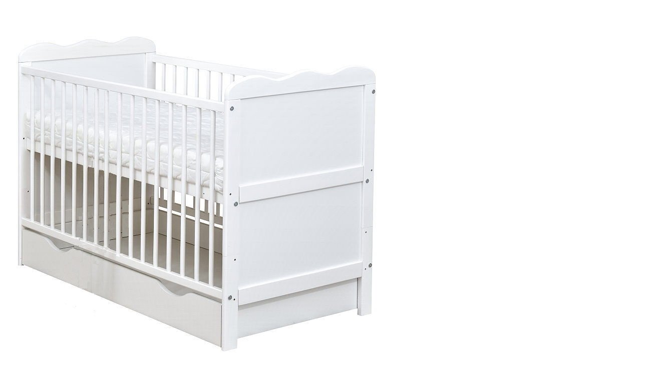 White Wooden Full Size 140x70cm Baby Cot Bed with Drawer and a Mattress B4Beds Ltd