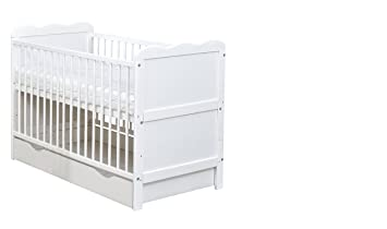 meet 106d0 7a715 White Wooden Full Size 140x70cm Baby Cot Bed with Drawer and a Mattress