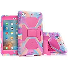 iPad Mini Case, ACEGUARDER Full Body Protective Rubber Cover (Impact Resistant) (Shockproof) (Scratchproof) with Screen Protector & Adjustable Kickstand for Apple iPad Mini 1 2 3 (PinkCamo/Rose)
