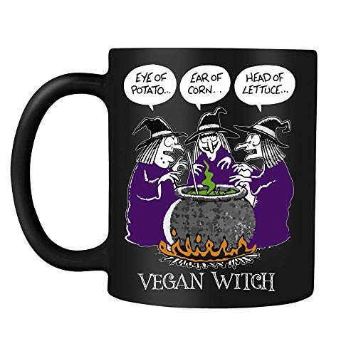 Vegan Witch Halloween Witches Girls Women Gift Black Ceramic Coffee Tea Mug cup 11oz
