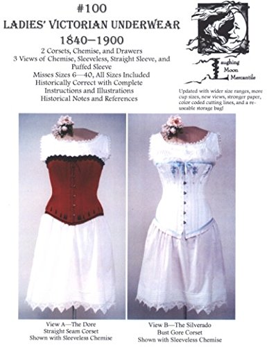 Steampunk Sewing Patterns- Dresses, Coats, Plus Sizes, Men's Patterns LM100 - Laughing Moon #100 1840 - 1900 Ladies Victorian Underwear Sewing Pattern $22.85 AT vintagedancer.com