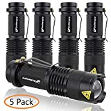 5 Pack Mini Ultra Bright LED Flashlight Light 7w 300lm Adjustable Focus Zoomable Q5 Cree Tactical Lightings