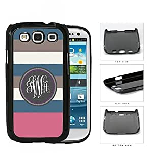 Blue Brown And Pink Stripe Monogram (Custom Initials) Hard Plastic Snap On Cell Phone Case Samsung Galaxy S3 SIII I9300