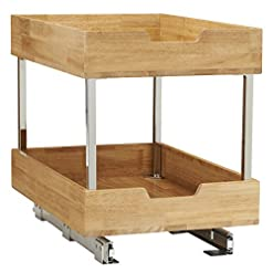 Kitchen Household Essentials 24521-1 Glidez Bamboo 2-Tier Sliding Cabinet Organizer, 14.5″ Wide, Wood pull-out organizers
