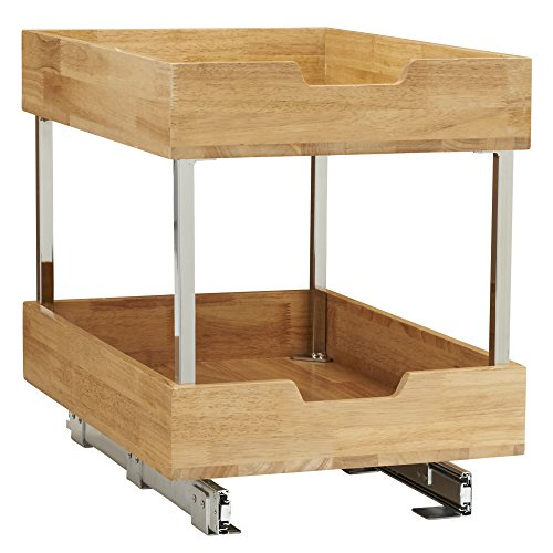 (Household Essentials 24521-1 Glidez Bamboo 2-Tier Sliding Cabinet Organizer, 14.5