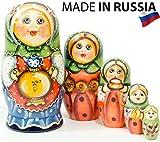 Russian Nesting Doll - ''Masha'' - Hand Painted in Russia - 6 style variations - Traditional Matryoshka Babushka C (6.75``(5 dolls in 1), Style H)