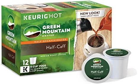 Green Mountain Coffee Keurig Single-Serve K-Cup Pods, Half-Caff Medium Roast Coffee, 72 Count (6 boxes of 12 Pods)