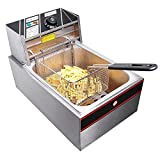 6 Liter Stainless Steel Electric Countertop Deep Fryer Tank Basket Commercial Use