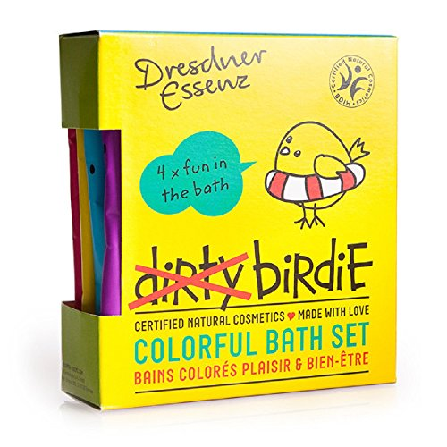 Dresdner Essenz Dirty Birdie Kids Bath Packets of Colorful Organic Bath Powders with Essential Oils and Wheat Protein - Set of 4
