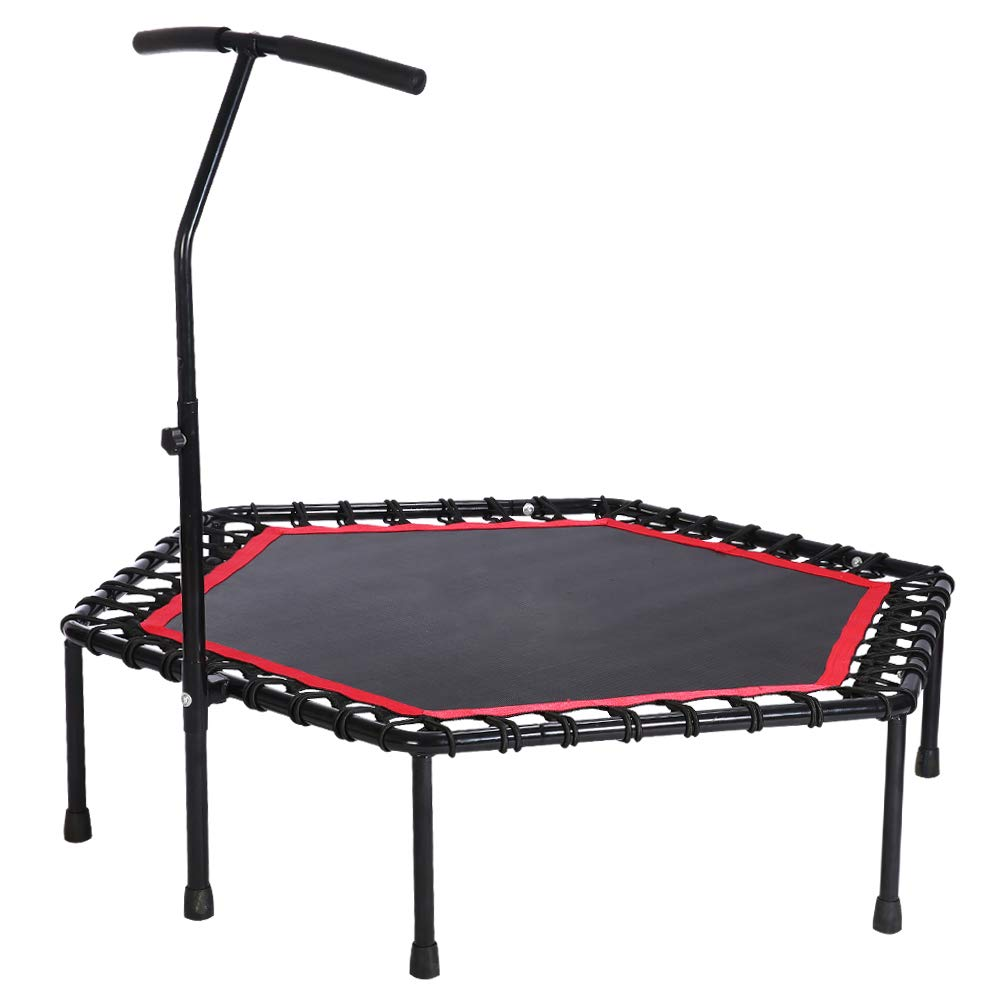 53'' Exercise Fitness Trampoline with Adjustable Handrail Handle Bar for Home Workout Cardio Training, Reinforced Covered Bungee Rope System - Max Limit 330 lbs (Red)