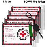 Free Bonus Fire Striker with 5 Pack Emergency Blankets (Extra Large - 63 x 82.5 inches) - Earthquake kit, Bug Out Bag, Camping. AKA Emergency Blanket, Thermal Blanket, Survival Blanket, NASA Blanket.