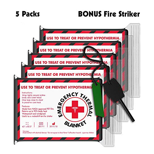 Free Fire Striker with 5 Pack Emergency Blankets (Extra Large - 63 x 82.5 inches) - Earthquake kit, Bug Out Bag, Camping. AKA Emergency Blanket, Thermal Blanket, Survival Blanket, NASA Blanket. by Emergency Thermal Blankets