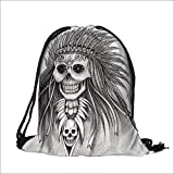Travel Drawstring Closure Bag Indian skull day of the dead Hand drawing on paper Gift Bag Pouches 15''W x 18.5''H