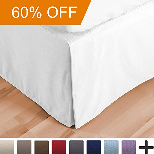 Bed Skirt Double Brushed Premium Microfiber, 15-Inch Tailored Drop Pleated Dust Ruffle, 1800 Ultra-Soft, Shrink and Fade Resistant (Full, White)
