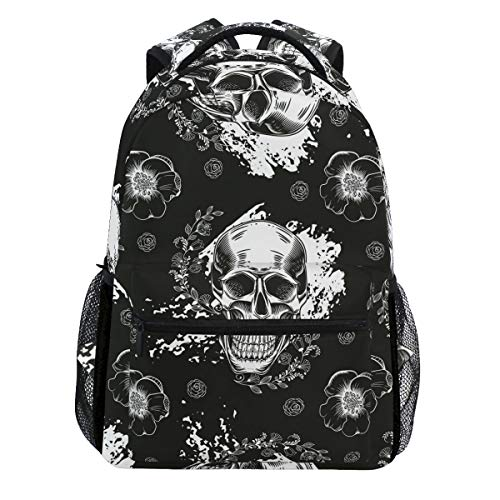 Vintage Skull Flower Halloween Black Backpack Bookbags Daypack Travel School College Bag for Womens Mens Teens]()