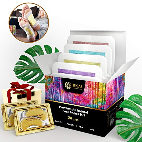 Premium Foot Pads 24 Pack |4 Aromas| Bonus 2 Gold Eye Masks | 100% All Natural Organic Body Cleansing Bamboo Vinegar Patches | Remove Stress, Pain, Sore Feet & Body Odor | Sleep Aid | FDA Certified from SKAI