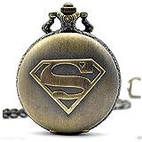 Superman - The Man Of Steel Logo Full Sized Antique Bronze Engraved Quartz Pocket Watch