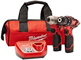 Milwaukee 2494-22 M12 Cordless Combination 3/8' Drill / Driver and 1/4' Hex Impact Driver Dual Power Tool Kit (2 Lithium Ion Batteries, Charger, and Bag Included)