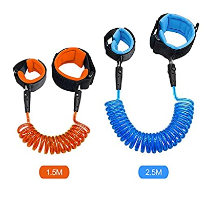 Anti Lost Wrist Link Safety Wrist Link for Toddlers, Babies & Kids [Pack of 2] 1.5M (Orange) & 2.5M (Blue) by Blisstime