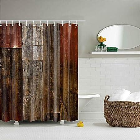 hdrjdrt Tela de poliéster Mampara de baño Cortinas de Ducha Cortina de baño Cortina Impermeable para la decoración casera Puerta de Madera Impresa 3D: Amazon.es: Hogar