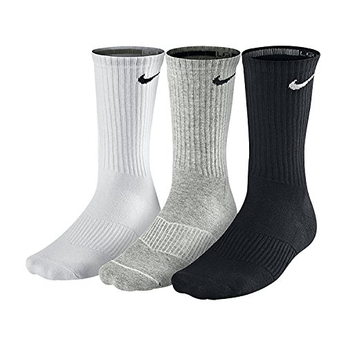 NIKE Unisex Performance Cushion Crew Training Socks (3 Pairs), White/Grey/Black, Large by NIKE