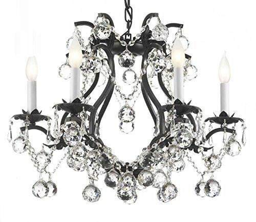 (Chandelier Made with Swarovski Crystal! Black Wrought Iron Crystal Lighting H 19